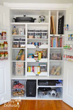 9 Tips To Win The Kitchen Pantry Storage War How To Turn A Plain Cabinet Into A Hyper-Organized Pantry - Kitchen Storage - Organizing Tutorial Kitchen Pantry, Kitchen Storage, Pantry Cabinets, Pantry Shelving, Wall Pantry, Pantry Storage Cabinet, Pantry Cupboard, Bathroom Storage, Pantry Organization
