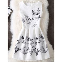 Sleeveless Butterfly Print Dress (€15) ❤ liked on Polyvore featuring dresses, no sleeve dress, butterfly pattern dress, butterfly print dresses, moth dress and butterfly dress