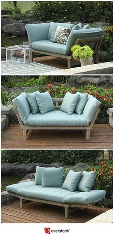 This outdoor sofa by West Lake converts into a comfortable daybed to let you relax and enjoy the springtime. The sides of the sofa prop up to make this a cute and casual love seat. Convert the sides and it becomes a bed with a thick cushion and pillows.