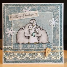 Little Lucy's Handmade Cards: Frosty Feeling Penguins Christmas Card (Tiddly Inks)