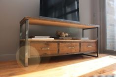 reclaimed wood industrial media console by wwmake on Etsy, $1650.00
