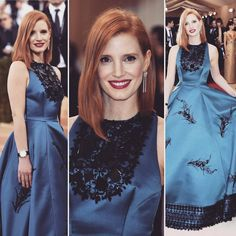 in from the Red Carpet of Instagram Fashion, Instagram Posts, Jessica Chastain, Fit S, Red Carpet, Prada, High Neck Dress, Blue, Outfits