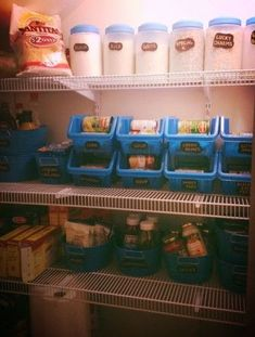 Keep your pantry in shape with plastic bins.
