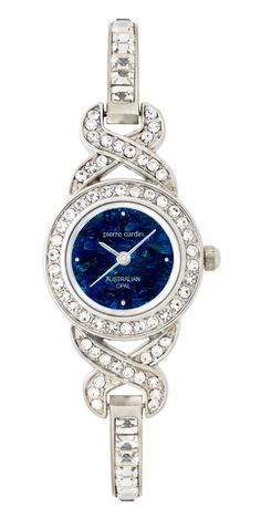 Ladies Silver Tone Stone Set Case & Bracelet, featuring a predominantly Blue Opal Mosaic Dial (BB4526) $189.00 Bold Jewelry, Jewellery, Ladies Watches, Bulova, Blue Opal, Pierre Cardin, Fashion Watches, Clocks, Bracelet Watch