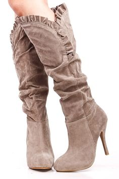 66eaf409585 TAUPE FAUX SUEDE RUFFLE TRIM KNEE HIGH HEEL BOOTS