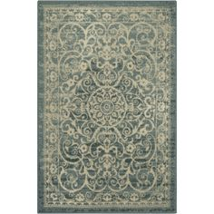 Area Rugs, Maples Rugs [Made in USA][Pelham] 7' x 10' Non Slip Padded Large Rug for Living Room, Bedroom, and Dining Room - Light Spa