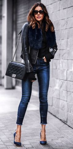 Amazing spring outfits /  Black Leather Jacket / Navy Skinny Jeans / Navy Pumps / Black Quilted Shoulder Bag