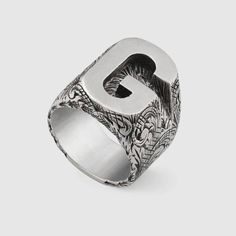 Gucci G letter ring in silver Jewelry Rings, Silver Jewelry, Silver Rings, Craft Jewelry, Gold Jewellery, Diamond Jewelry, Dress Rings, Bridal Jewelry Sets, Size 10 Rings