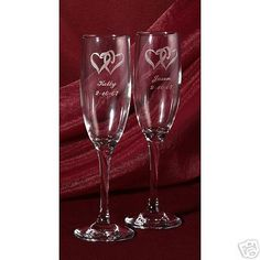Linked Heart Engraved Wedding Glasses Personalized