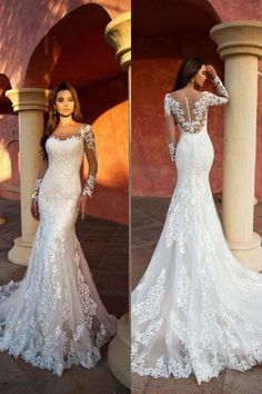 Beautiful Trumpet Wedding Dress / Bridal Gown with Long Sleeves and the Train by Nora Naviano 41 Elegant Gorgeous Unique Wedding Dresses With Incredible Elegance Lace Mermaid Wedding Dress, Long Wedding Dresses, Long Sleeve Wedding, Princess Wedding Dresses, Wedding Dress Styles, Bridesmaid Dresses, Lace Trumpet Wedding Dress, Lace Wedding Dress With Sleeves, Cinderella Wedding