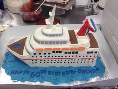 Cruise ship birthday cake for a lady who loves to cruise.