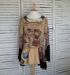 Cowgirls Tunic L/XL Upcycled Clothing Upcycled by AnikaDesigns, $68.00