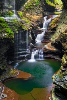 Rainbow Falls (left) and other cascades along Glen Creek at Watkins Glen State Park, New York.