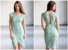 This sage green lace dress has a cute high low cut!  http://ss1.us/a/dsWUIqBM