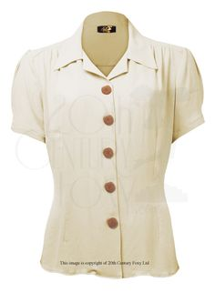 1940s Style Shirt Blouse in Ivory Crepe