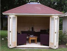 Lugarde Prima Noella SummerHouse x with Bi-fold doors flat / pyramid roof Simply Storage, Bungalow, Bar Shed, Hidden Garden, Garden Buildings, Garden Office, Garden Features, Flat Roof, Gardens