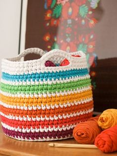 free pattern crochet t-shirt yarn storage basket mypoppet.com.au