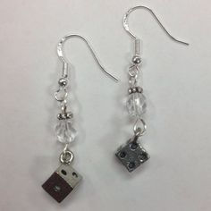 Bunco Dice Earrings with faceted clear crystal accent beads - on sterling silver earwires by AnnPedenJewelry on Etsy
