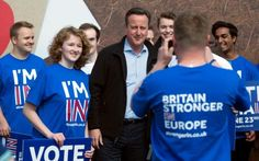 David Cameron with supporters from a 'Stronger In' campaign event in Witney…