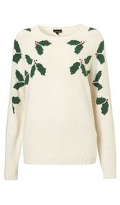 Cream Christmas jumper with holly on. Great design that makes a Christmas jumper elegant and subtle. Wear with a black skater skirt and woolly tights with boots for a fashionable Christmas look Novelty Christmas Jumpers, Best Christmas Jumpers, Festive Jumpers, Xmas Jumpers, Christmas Tops, Cheap Christmas, Christmas Sweaters, Christmas Clothes, Christmas Shirts
