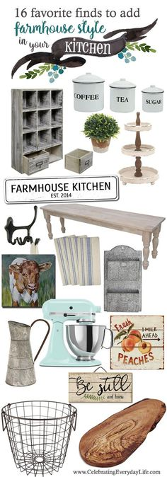 Add Farmhouse Style to your Kitchen with these pretty Farmhouse Finds starting at just $7! woo-hoo! I love Farmhouse decor bargains!   Celebrating Everyday Life with Jennifer Carroll   www.CelebratingEverydayLife.com