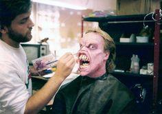 Richard Domeier in make-up as Possessed Ed Getley behind the scenes in #EvilDead 2 (1987).