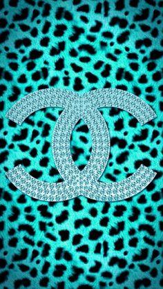 ✿Duitang ~ Chanel Blue Leopard Skin Wallpaper.