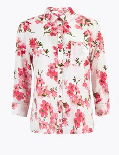Small Wardrobe, Denim Shop, Shirt Blouses, Women's Shirts, Lingerie Collection, Work Casual, Denim Fashion, Shirt Style, Floral Tops