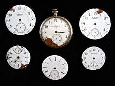6 Antique Enamel Pocket Watch Faces.  SOLD