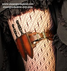Leather+Steampunk+Leg+Garter+w/+Throwing+Knives++by+SteampunkedOut,+$62.00