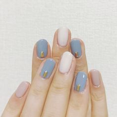 nail art designs | simple | ideas | DIY | gel | acrylic | rhinestones | blue | pink | natural | color combos
