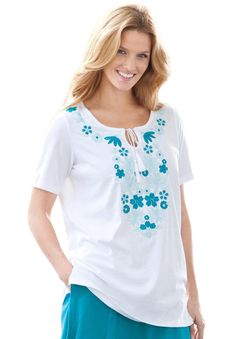 Jersey knit peasant T-shirt with rich floral embroidery in front, short sleeves