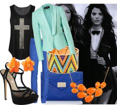 """""""Blue with Orange"""" by evelinsabjan on Polyvore"""