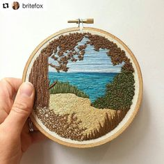 A lovely bit of texture and a lovely chilled out scene by @britefox #regram It's been a long time since my last post; life has been hectic lately and I've had hardly any time to stitch. When I have snatched a few minutes I've been chipping away at this piece which I started ages ago. The layers and layers of teensy stitches have taken forever! I've learnt a lot from stitching this but I'm quite glad it's finished to be honest. Now on to other things! #embroidery #handembroidery #texture…