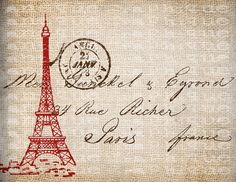 Antique SEPIA Red Paris France Postmark Eiffel Tower Postcard Digital Download for Papercrafts, Transfer, Pillows, etc Burlap No 3715