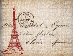 Antique SEPIA Red Paris France Postmark Eiffel Tower Postcard Digital Download for Papercrafts, Transfer, Pillows, Burlap, etc.