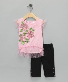 Take a look at this Pink Rose Tulle Top & Black Pants - Infant & Toddler by Young Hearts on #zulily today!