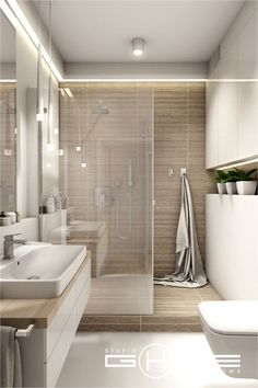 Home Decor Elegant Project in Warsaw residential Central Park Ursynw.Home Decor Elegant Project in Warsaw residential Central Park Ursynw House Bathroom, Trendy Bathroom, Modern Bathroom Design, Bathroom Layout, House Interior, Bathroom Interior, Bathroom Renovations, Beige Bathroom, Bathroom Decor