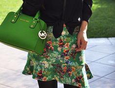 Green Skirt & Michael Kors bag