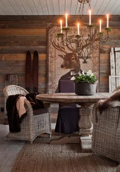 Drömhuset har adventspyntats med doftande hyacinter, fällar & granris – kika in! Log Home Interiors, Mountain Cottage, Little Cabin, Interior Decorating, Interior Design, Roof Design, French Country Style, Cozy House, Warm And Cozy