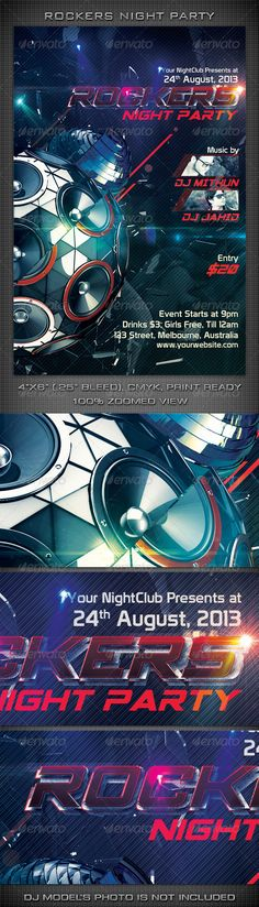 """Rockers Night Party Flyer  #GraphicRiver          Rockers Night Party Flyer   300 DPI, CMYK, 4""""x6"""" (4.25""""x6.25"""" with Bleeds), Print Ready  This Flyer is well Organized and Fully Editable (100% Layered).  This flyer template is for any Event, May be you can use it for a night club event/party/concert/festival or Ad.  Fonts used in the design are 'Spy Agency' & 'Prototype'.  Detailed Help Guide Included  If you like my Item, Please Rate it & Share it with your Friends. It'll help me a lot…"""