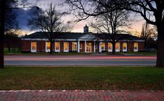 Between Fall and Winter, Orchard Park Library at Dusk just before Closing, with Car Tail Light Trails