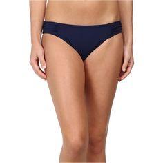 Tommy Bahama Pearl Solids Side Shirred Hipster Bottom Women's... ($26) ❤ liked on Polyvore featuring swimwear, bikinis, bikini bottoms, navy, low rise bikini, hipster bikini, shirred bikini bottom, navy bikini bottoms and navy blue bikini