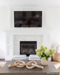 A Shaker Style Fireplace Mantle With Board And Batten Herringbone Marble Surround Perfect In