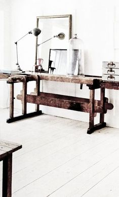 Rustic industrial chic work desk.