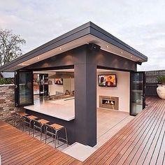 It was all a dream! Backyard Cabana of my dreams. It was all a dream! Backyard Cabana of my dreams. Outdoor Gazebos, Outdoor Rooms, Outdoor Living, Outdoor Kitchen Bars, Outdoor Kitchen Design, Bar Kitchen, Backyard Kitchen, Kitchen Ideas, Outdoor Bars