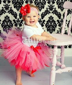 Baby Tutu only, red and pink Valentine skirt with hearts, you choose size 0,3,6,9,12,18,24 months, infant photo props -HEARTS ON FIRE. $23.95, via Etsy.
