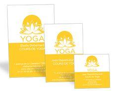 Dcouvrez Nos Nouvelles Cartes De Visite Yoga Disponibles En 3 Formats 55x85mm 80x128mm Et 70x70mm Jaunes Dcores Dune Fleur Lotus