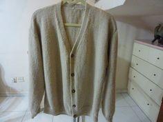 80's Hand Knit Wool Long Sleeve Man Cardigan by RainbowKnit, $12.00