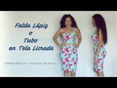 Aprende con SANDRA PADILLA : Falda Lápiz o Falda Tubo- en tela Licrada Sewing Techniques, Diana, Sewing Projects, Two Piece Skirt Set, Crop Tops, Summer Dresses, Skirts, Model, Blog